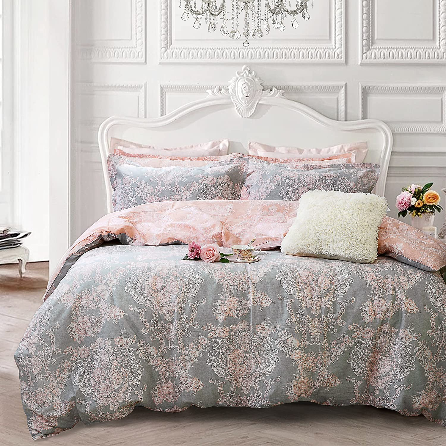 Brandream Blush Pink Bedding Sets Full Size Girls Damask Flo
