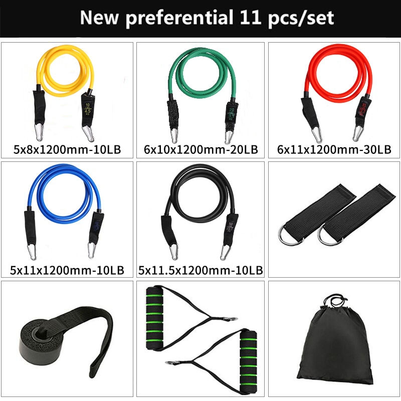 11PCS Crossfit Resistance Bands Tube Set Stretch Training Rubber Expander Tubes Pilates Fitness Gum Elastic Pull Rope Equipment-1