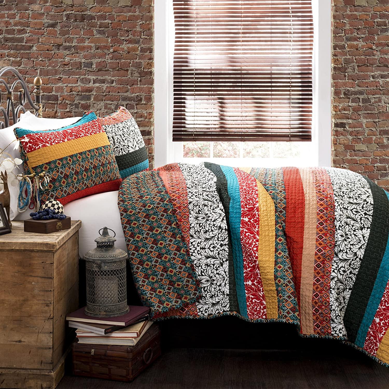 Lush Decor Boho Stripe Quilt Reversible 3 Piece Bohemian Des