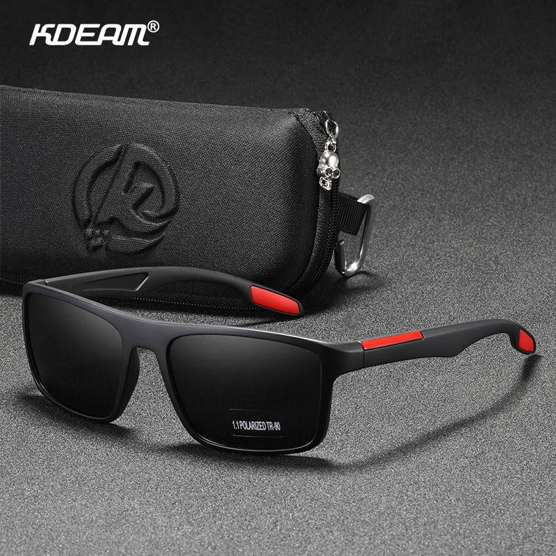 KDEAM Rectangular Ultra Light TR90 Sunglasses Men Polarized TAC 1.1mm Thickness Lens Driving Sun Glasses Women Sports Cat.3-0