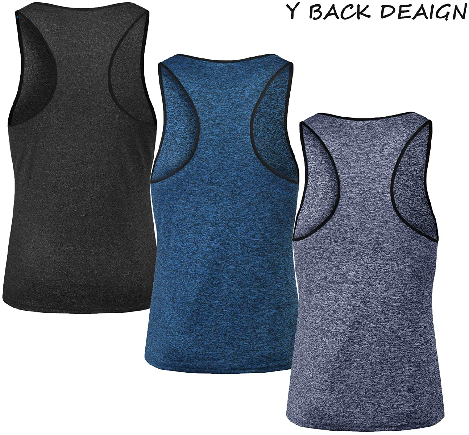 Coofandy Mens 3 Pack Gym Tank Tops Y-Back Workout Muscle Tee Fitness Bodybuilding T Shirts