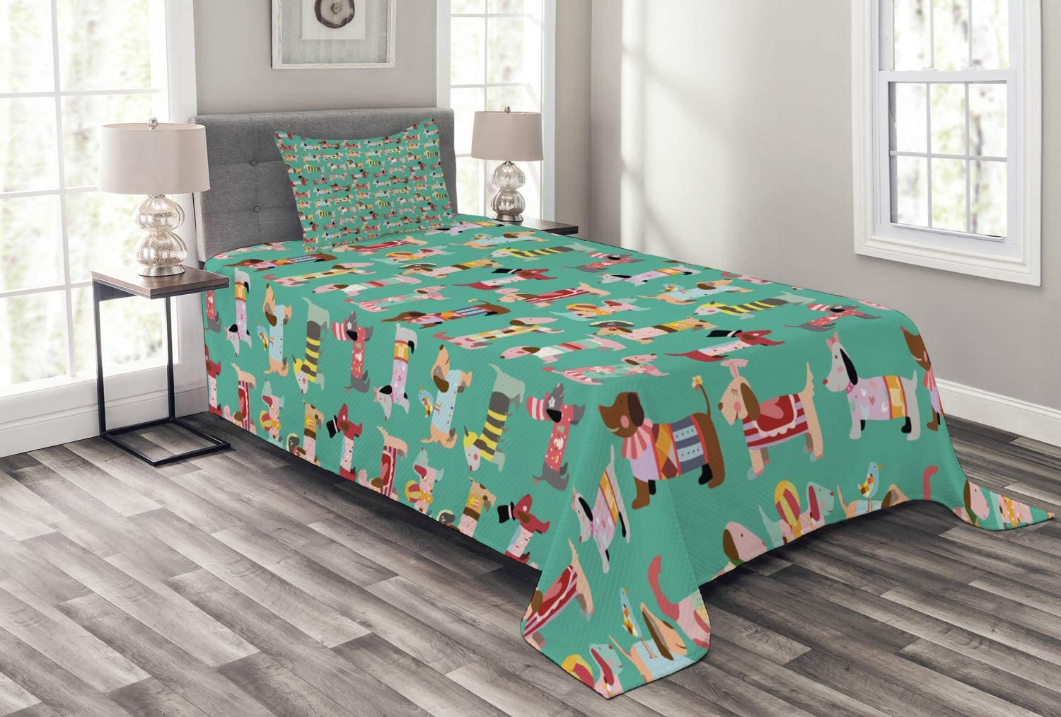 Ambesonne Dog Lover Bedspread, Abstract Puppy Pattern with H