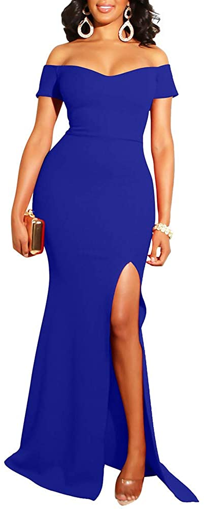 YMDUCH Womens Off Shoulder High Split Long Formal Party Dress Evening Gown