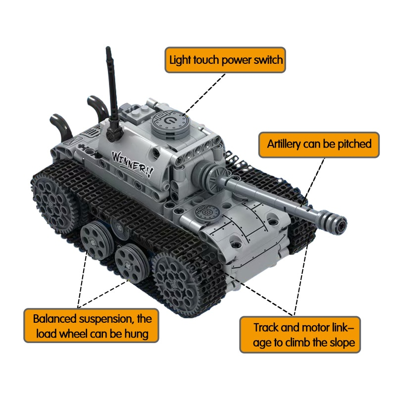 City Military Electric Motor Tank Building Blocks Technic Tank Track Army Soldier Figure Bricks Education Toys For Boys-2