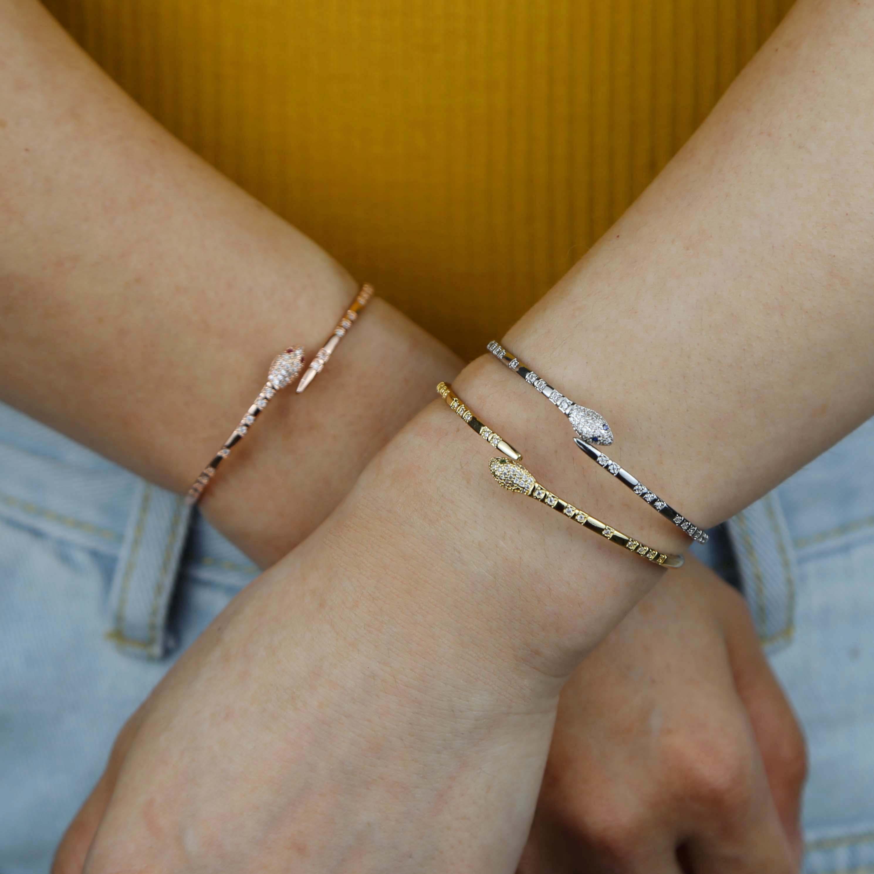 open adjusted fashion cz bangle bracelet for women girl red  green blue eye snake shaped cuff bangles-3