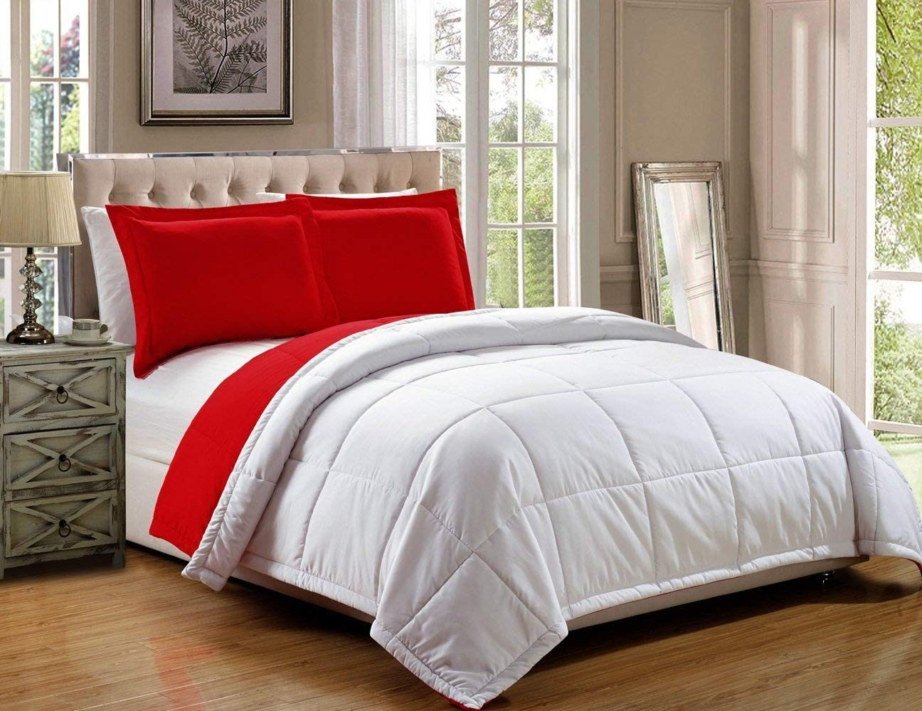 Grand Linen 2 Piece Luxury Red/White Reversible Goose Down A