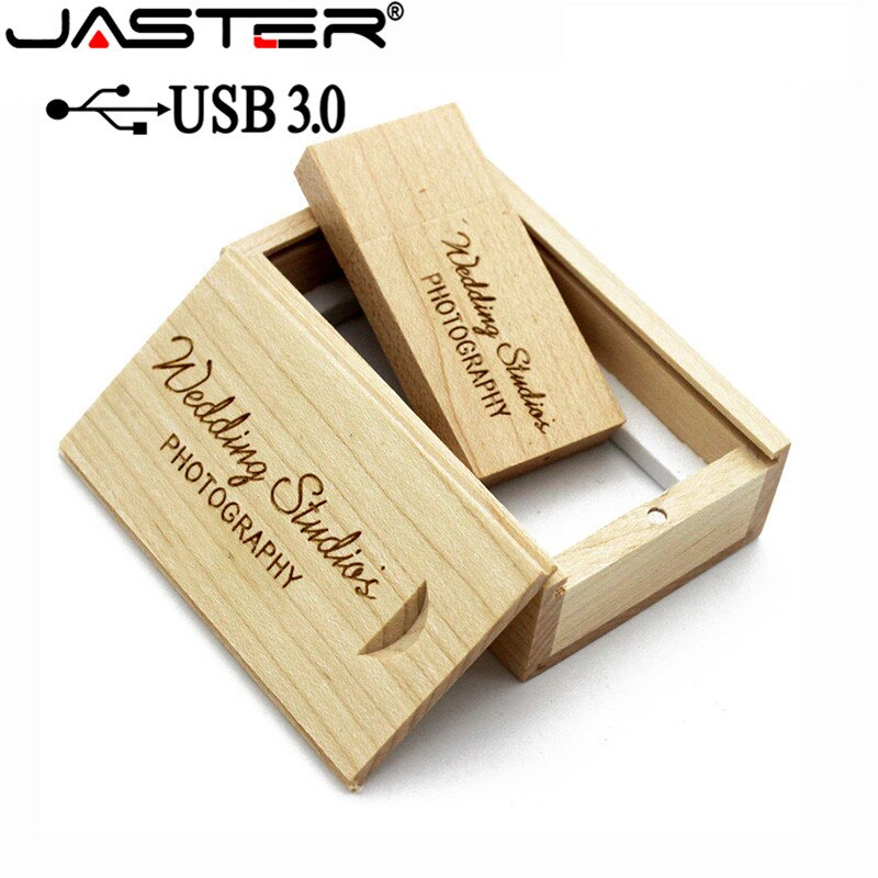 JASTER USB 3.0 Wooden usb+wood BOX usb flash drive pendrive 4GB 8GB 16GB 32GB 64GB wedding Photography gift free custom logo-2