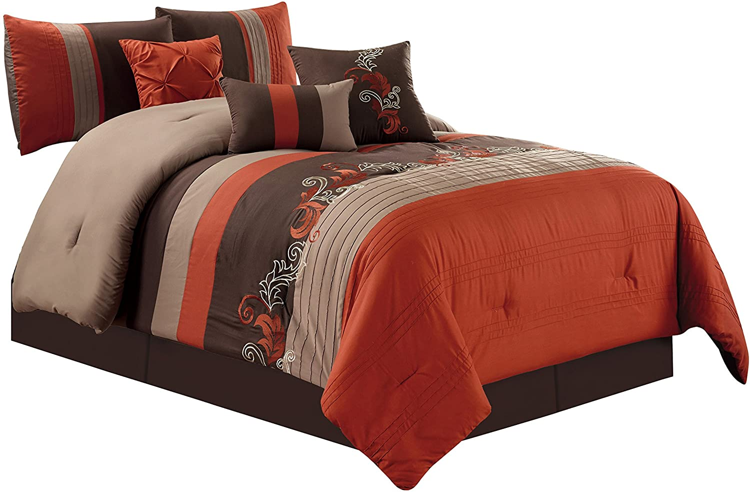 Chezmoi Collection Napa 7-Piece Luxury Leaves Scroll Embroid