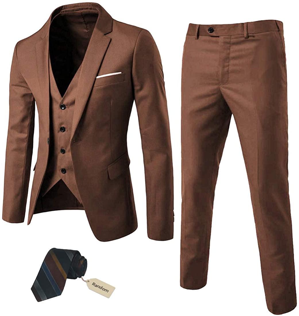 MY'S Men's 3 Piece Slim Fit Suit Set, One Button Solid Jacket Vest Pants with Ti