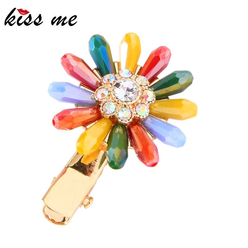 photo of kissme Colorful Glass Beads Delicate Crystal Flower Barrette For Women Gifts Gold Color Alloy Fashion Hair Jewelry Accessories