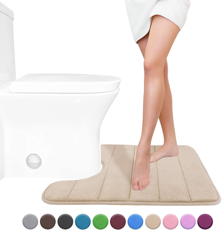 Yimobra Memory Foam Toilet Bath Mat U-Shaped, Soft and Comfo