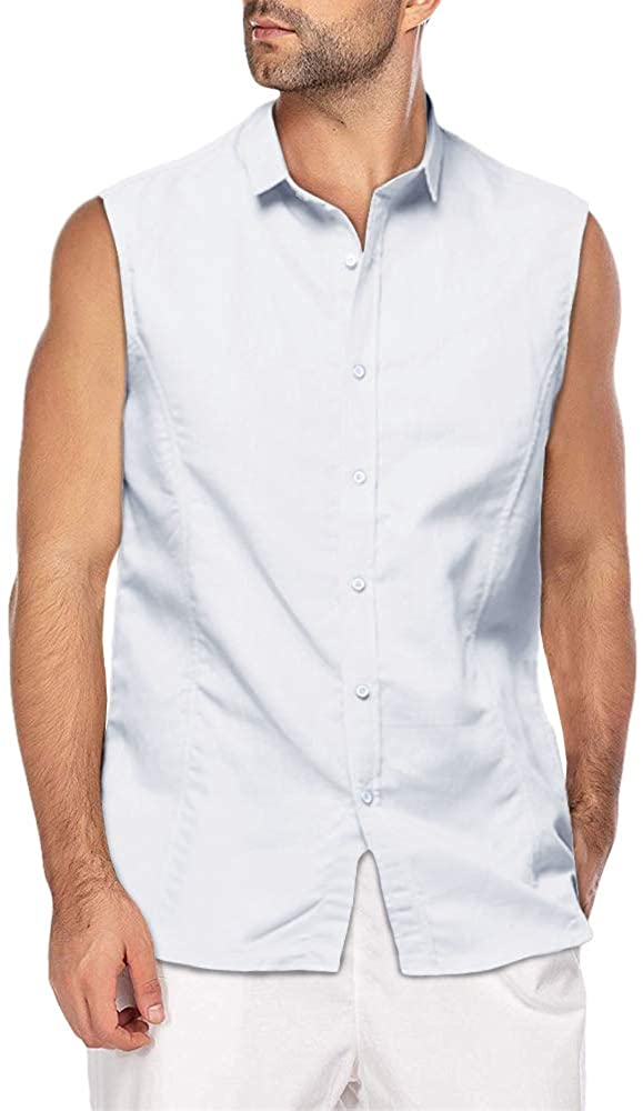 Men/'s Sleeveless Linen Vest Shirts Lace Up Causal Tops Cool T Shirt Tee Blouses