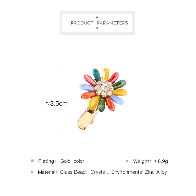 kissme Colorful Glass Beads Delicate Crystal Flower Barrette For Women Gifts Gold Color Alloy Fashion Hair Jewelry Accessories-5
