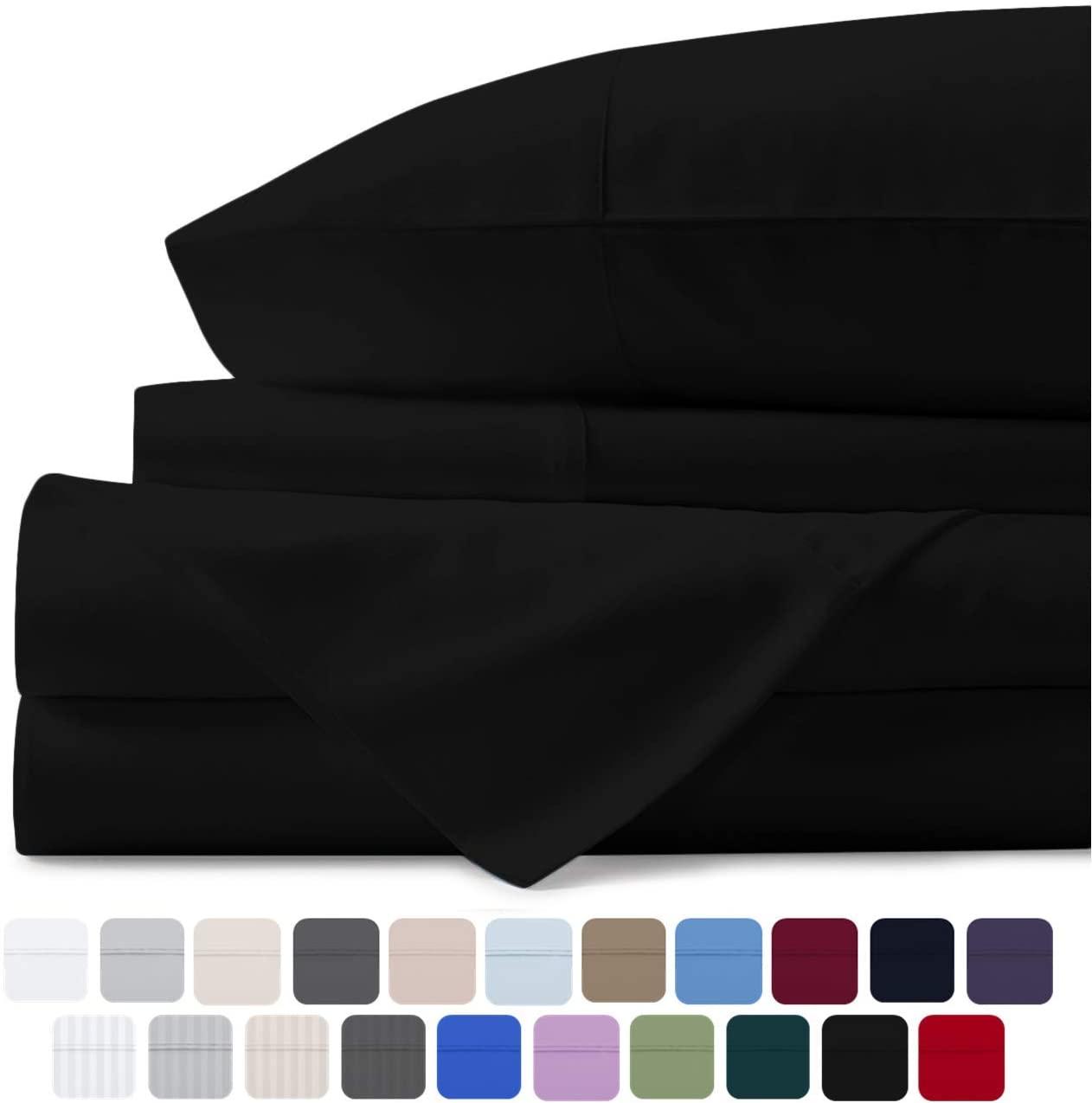 Mayfair Linen 100% Egyptian Cotton Sheets, Black Queen Sheet