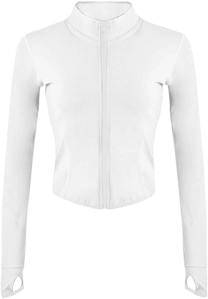 Gihuo Womens Athletic Full Zip Lightweight Workout Jacket with Thumb Holes