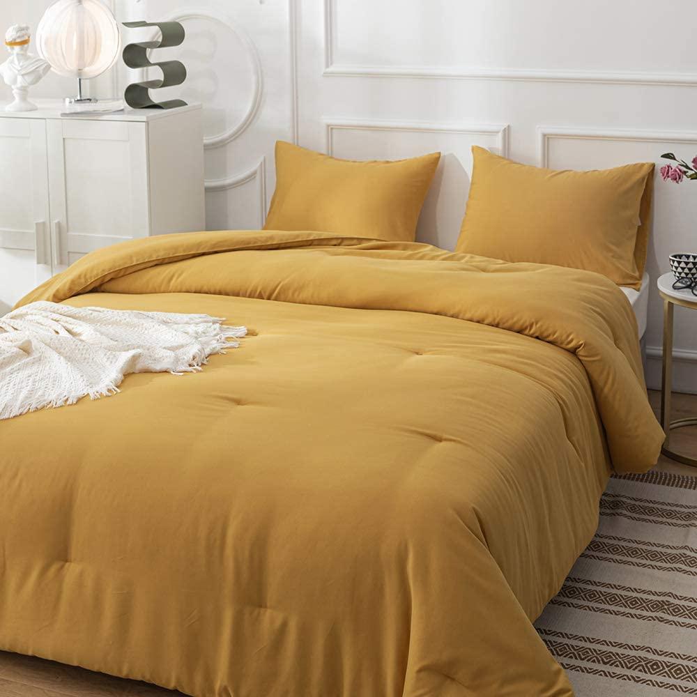 CLOTHKNOW Dark Yellow Comforter Sets King Yellow Bedding ...