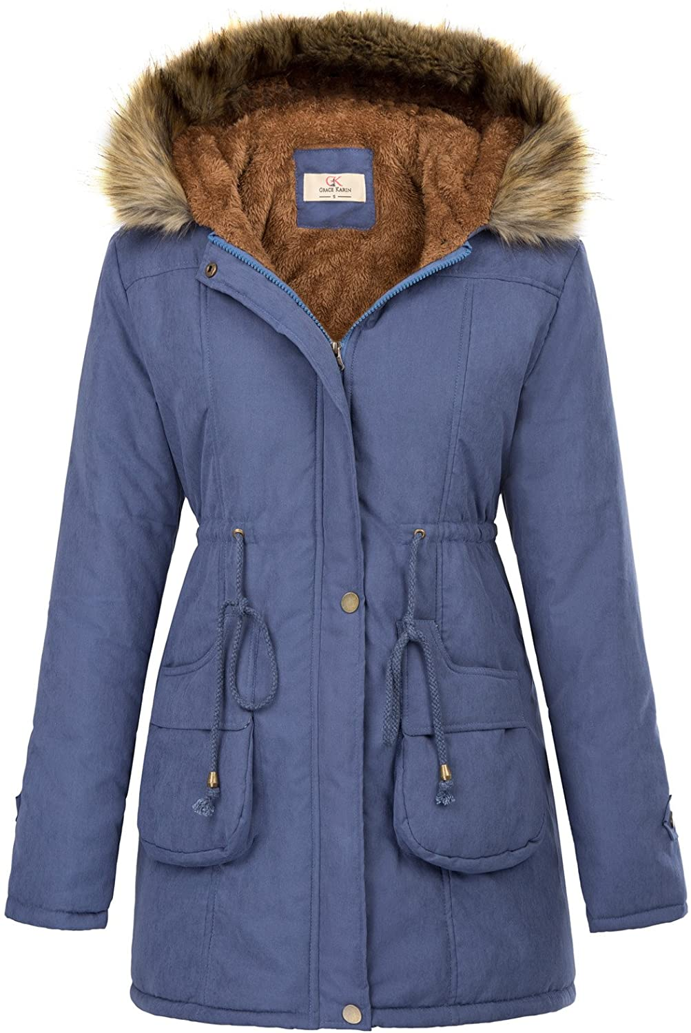 GRACE KARIN Womens Hooded Warm Winter Thicken Fleece Lined Parkas Long Coats Coats, Jackets & Vests Clothing, Shoes & Jewelry ilsr.org