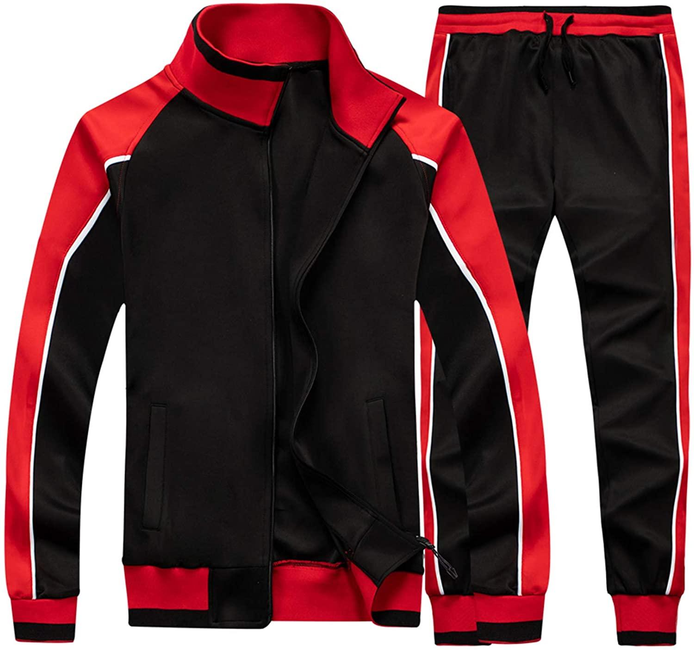 TOLOER Men's Activewear Full Zip Warm Tracksuit Sports Set C