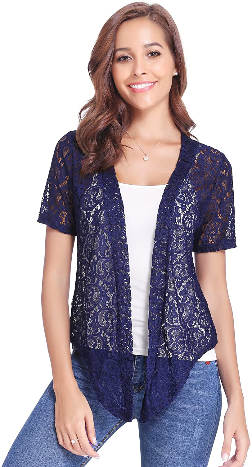 Open crochet short-sleeved open front cardigan with folded
