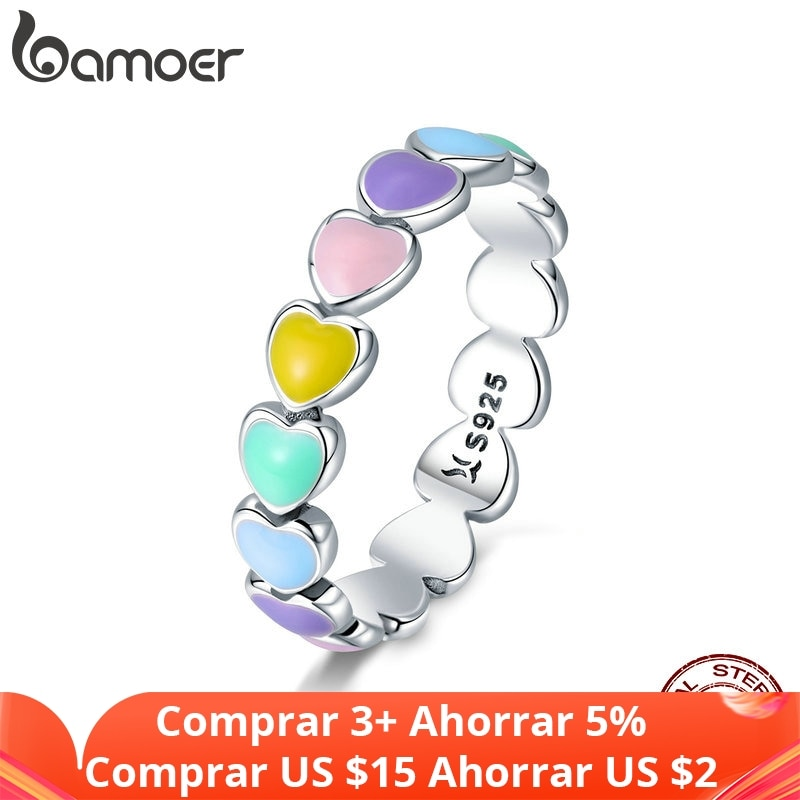 photo of BAMOER Authentic 925 Sterling Silver Stackable Rainbow Heart Finger Rings for Women Wedding Engagement Ring Jewelry Anel SCR444