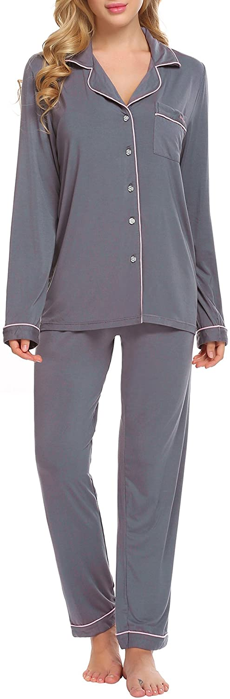 Ekouaer Pajamas Set Long Sleeve Sleepwear Womens Button Down