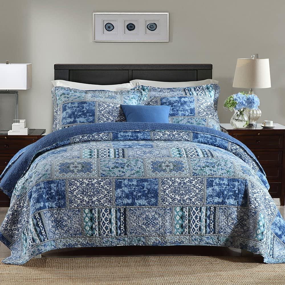 NEWLAKE Cotton Bedspread Quilt Sets-Reversible Patchwork Cov