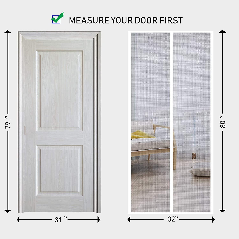 Durable Fiberglass Door Mesh with Full Frame Hook/&Loop for Patio Door Fits Door Size up to 32x80 Max-Black MAGZO Screen Door Magnets 32 x 80