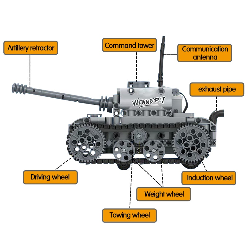 City Military Electric Motor Tank Building Blocks Technic Tank Track Army Soldier Figure Bricks Education Toys For Boys-3