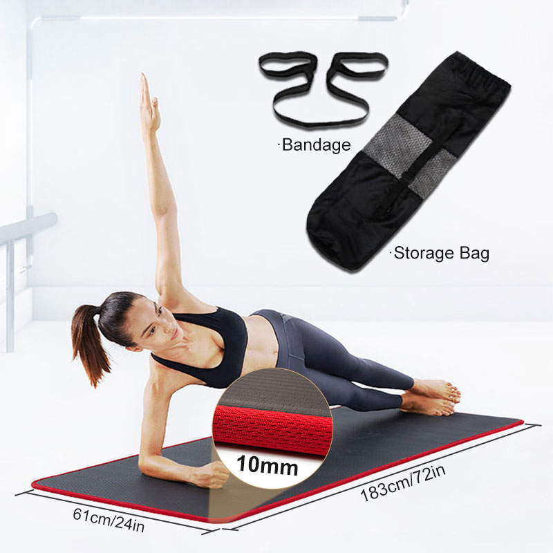10mm Yoga Mat Extra Thick 1830*610mm NRB Non-slip Pillow Mat For Men Women Fitness Tasteless Gym Exercise Pads Pilates Yoga Mat-2