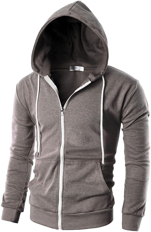 OHOO Mens Slim Fit Long Sleeve Lightweight Zip-up Hoodie wit
