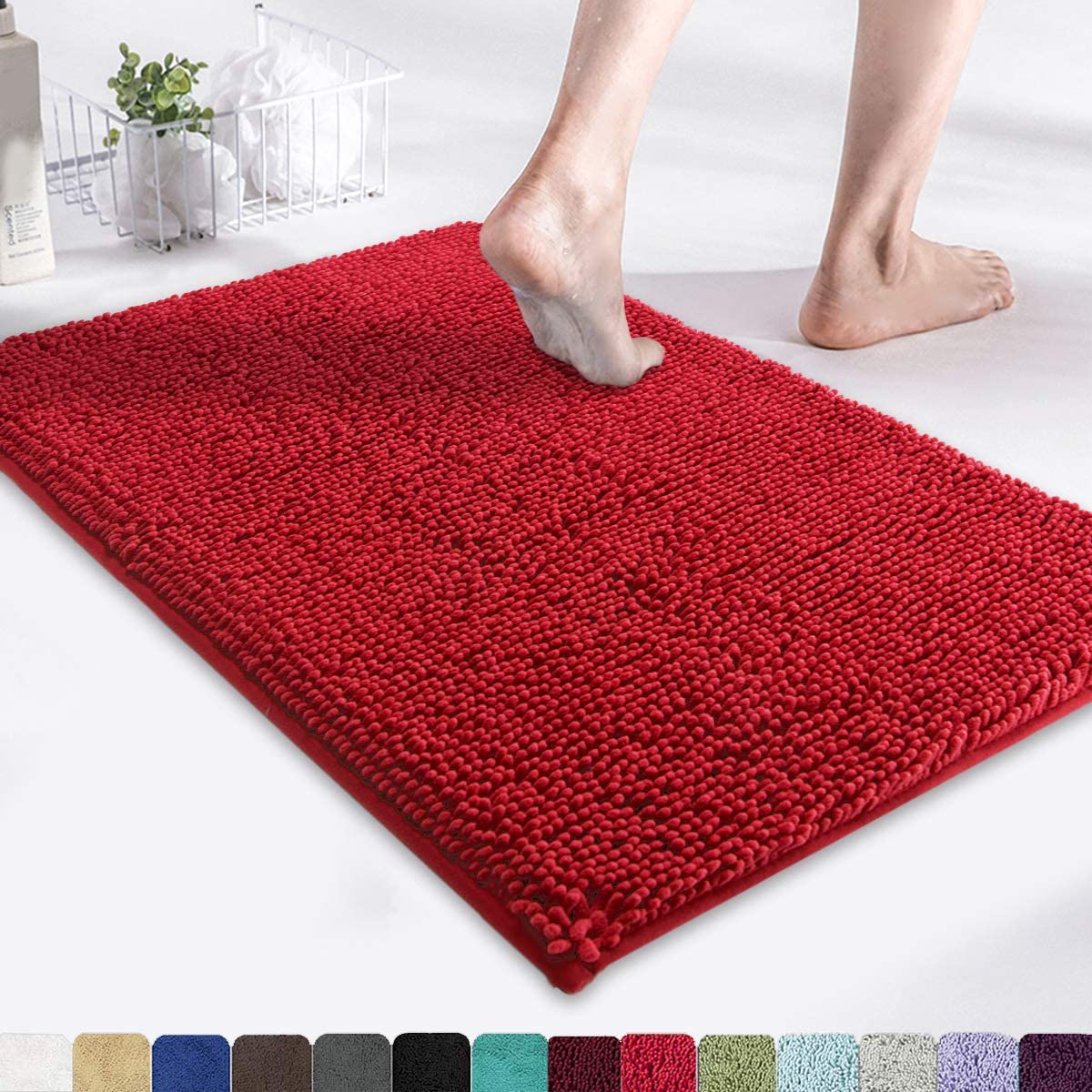 "MAYSHINE Chenille Bath Mat for Bathroom Rugs 24"" x17"", Extra"