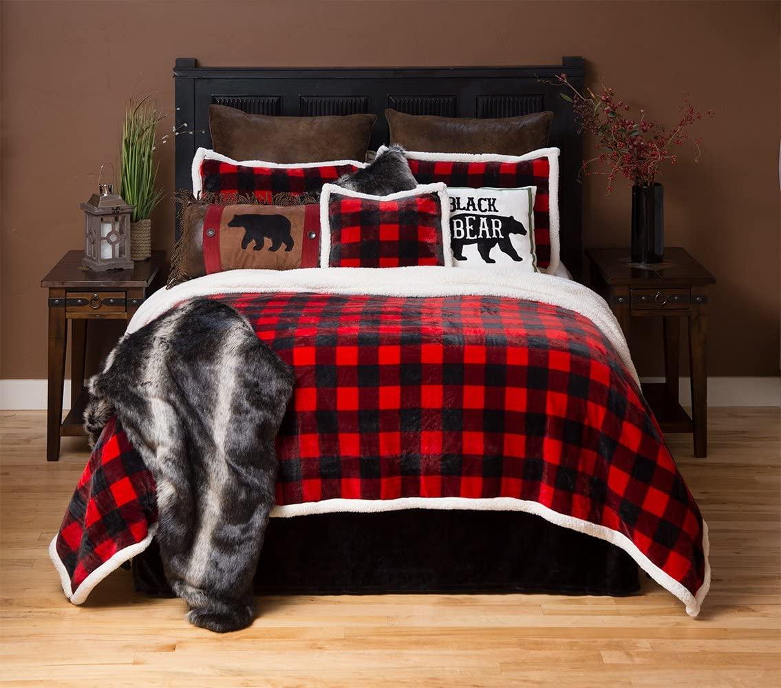 Carstens Lumberjack Red Plaid Plush Bedding Set, King