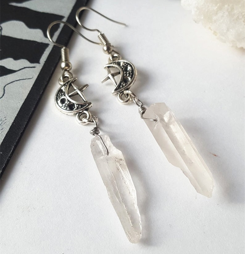 Clear Quartz Moon Earrings - Boho, Witchy, Natural Stones, Esoteric, Celestial, Alternative, Nugoth, Gothic, Romantic.star Gift-1