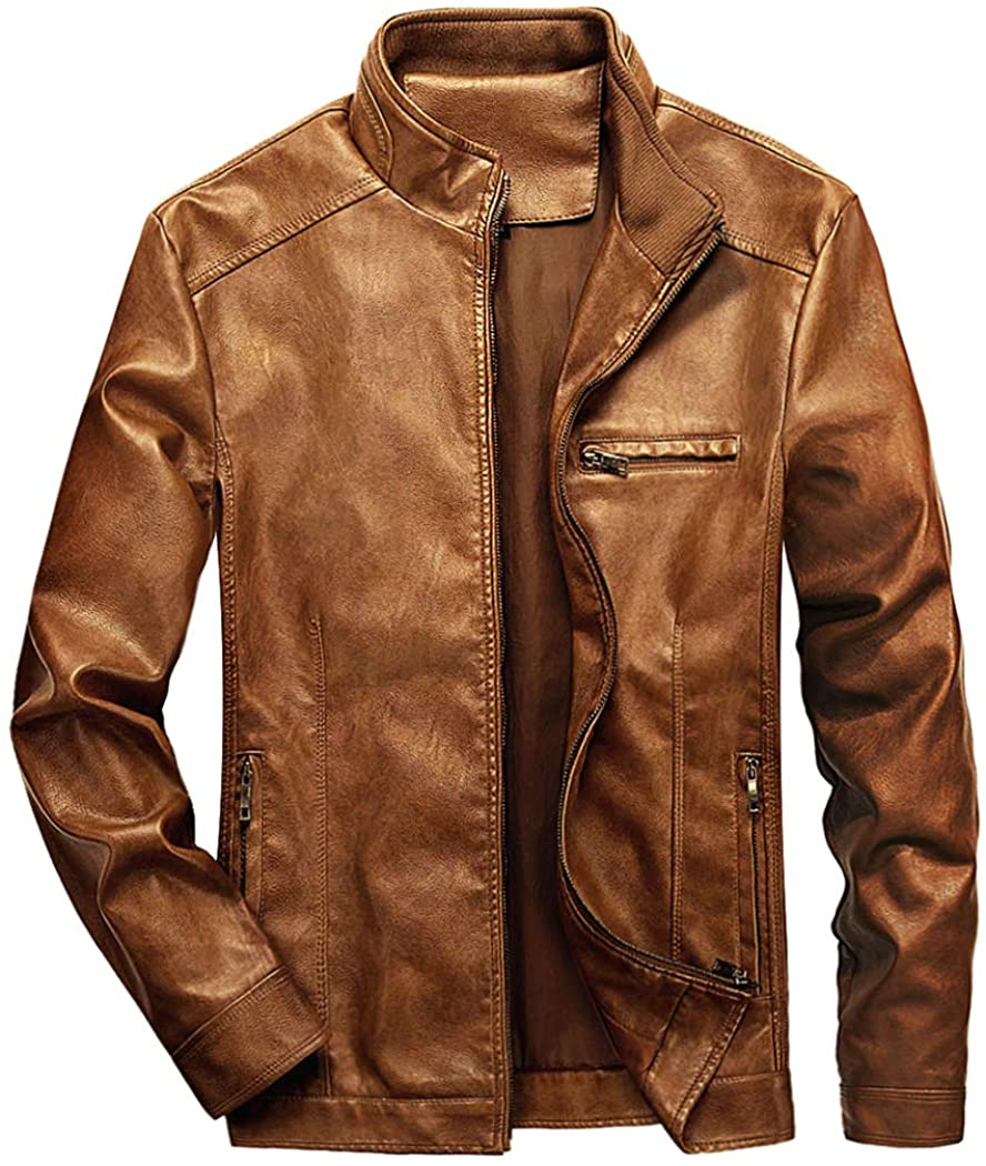 WULFUL Men's Stand Collar Leather Jacket Motorcycle Lightwei