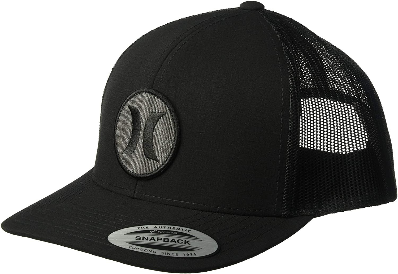 Hurley Men's Black Textures Patch Trucker Baseball Cap