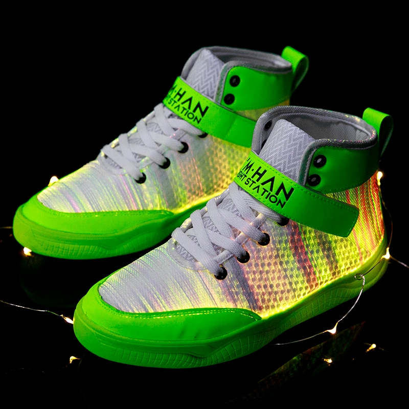 UncleJerry 2020 New Fiber Optic Shoes big boys girls and adult USB Rechargeable Glowing Sneakers Party Shoes Cool Street Shoes-2