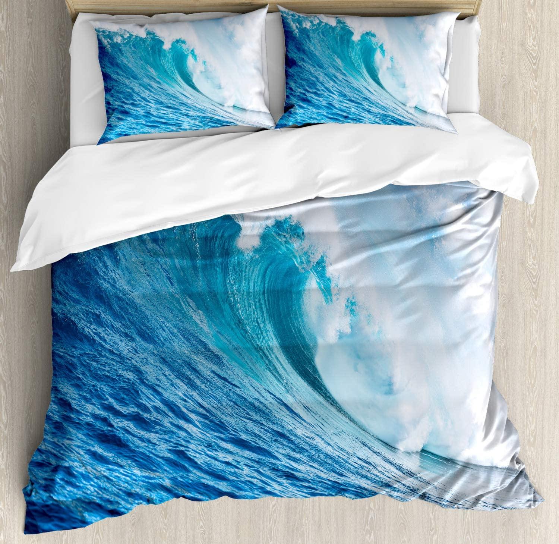 Ambesonne Ocean Duvet Cover Set, Large Powerful Pasific Sea