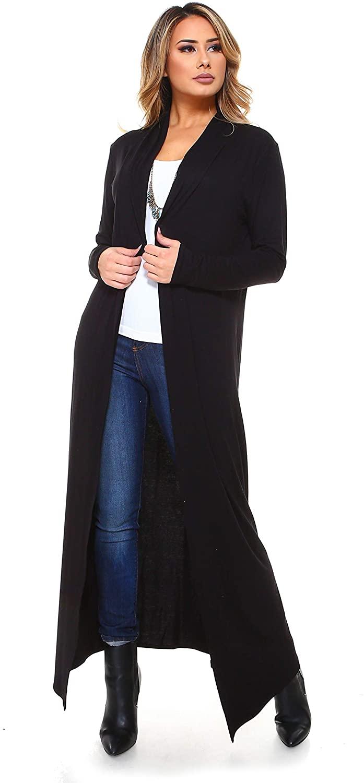 Isaac Liev Women's Super Long Flowy Floor Length Maxi Cardig