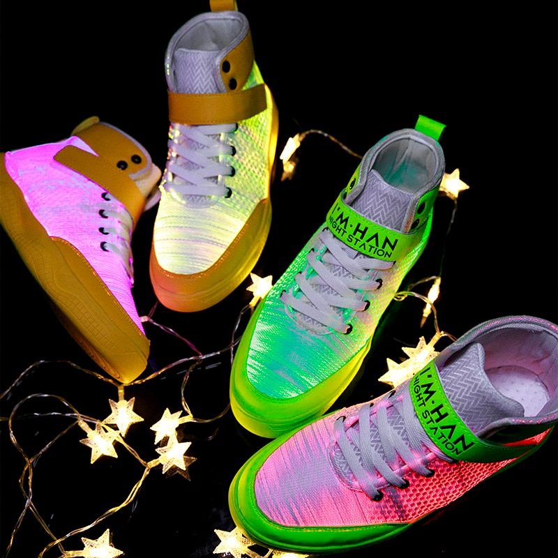 UncleJerry 2020 New Fiber Optic Shoes big boys girls and adult USB Rechargeable Glowing Sneakers Party Shoes Cool Street Shoes-5