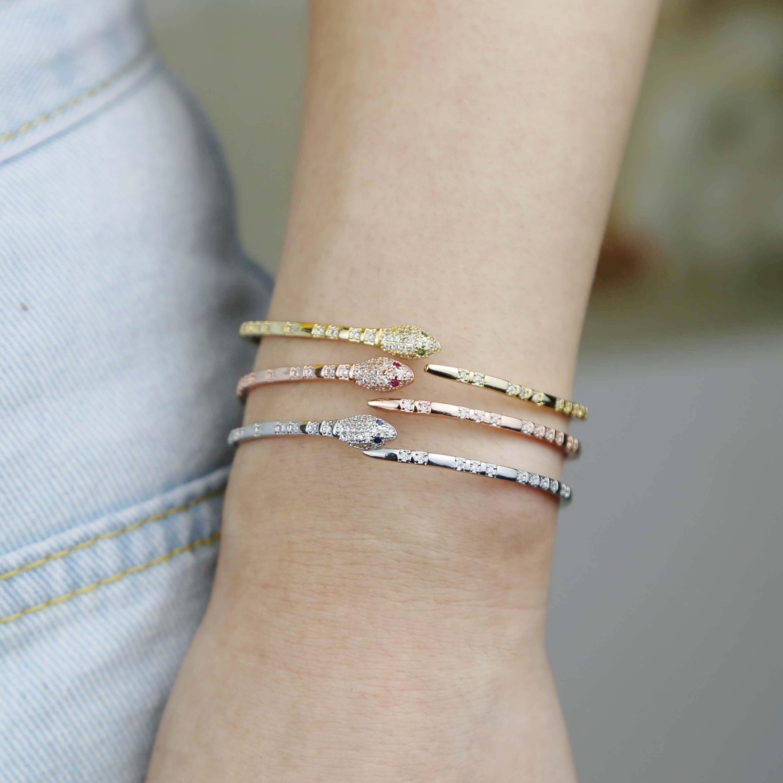 open adjusted fashion cz bangle bracelet for women girl red  green blue eye snake shaped cuff bangles-4