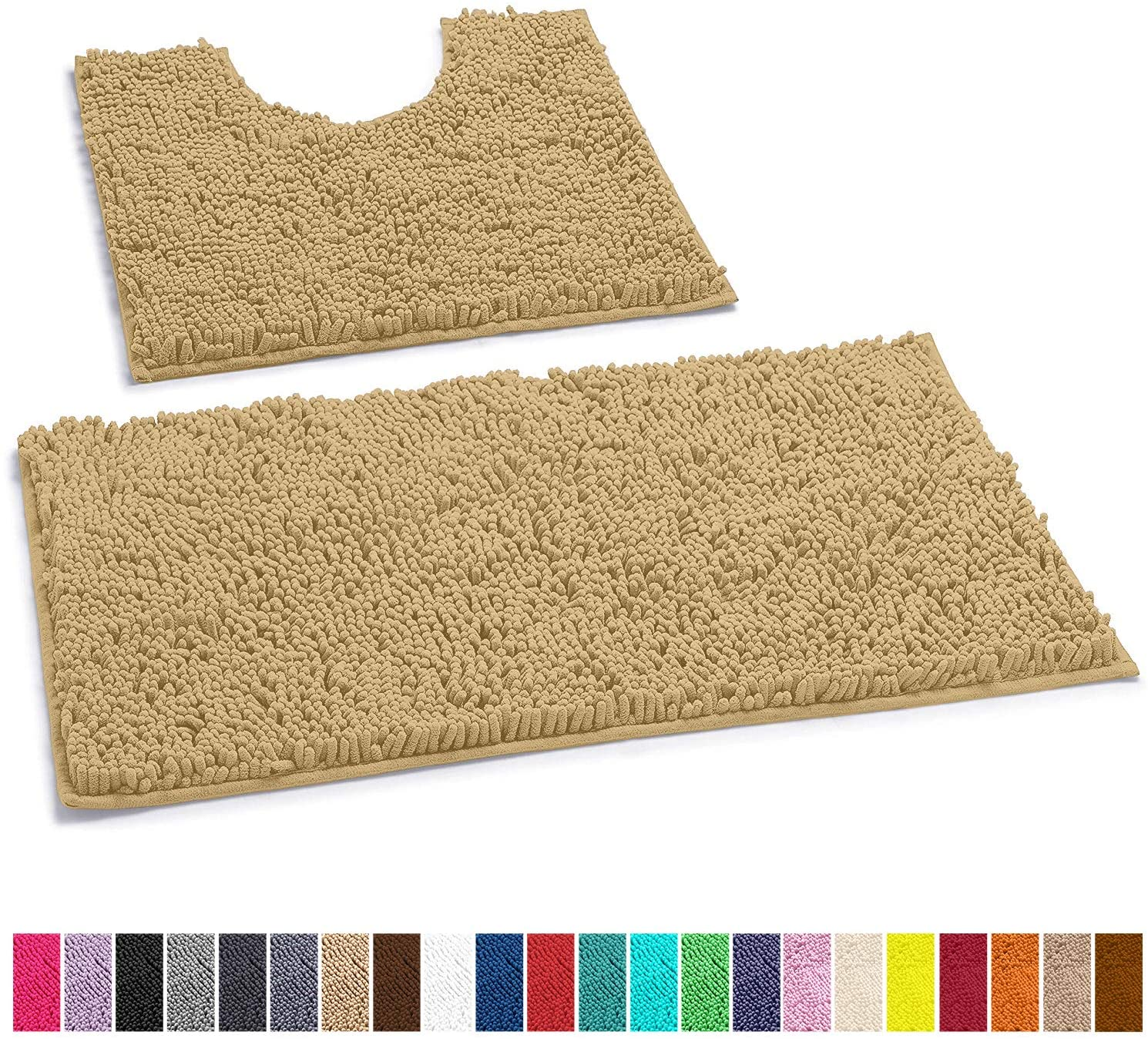 LuxUrux Bathroom Rugs Luxury Chenille 2-Piece Bath Mat Set,