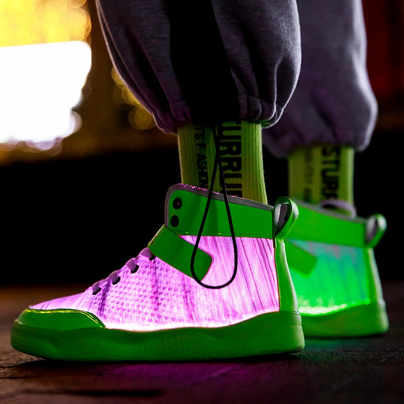 photo of UncleJerry 2020 New Fiber Optic Shoes big boys girls and adult USB Rechargeable Glowing Sneakers Party Shoes Cool Street Shoes