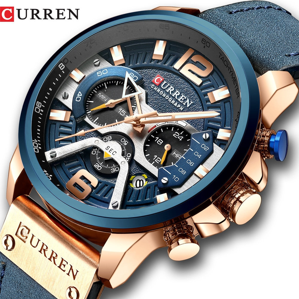 photo of CURREN Casual Sport Watches for Men Blue Top Brand Luxury Military Leather Wrist Watch Man Clock Fashion Chronograph Wristwatch